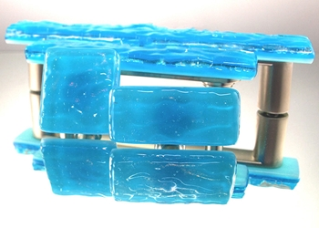 Blue Topaz Handmade Glass Knob and Pull Cabinet Hardware